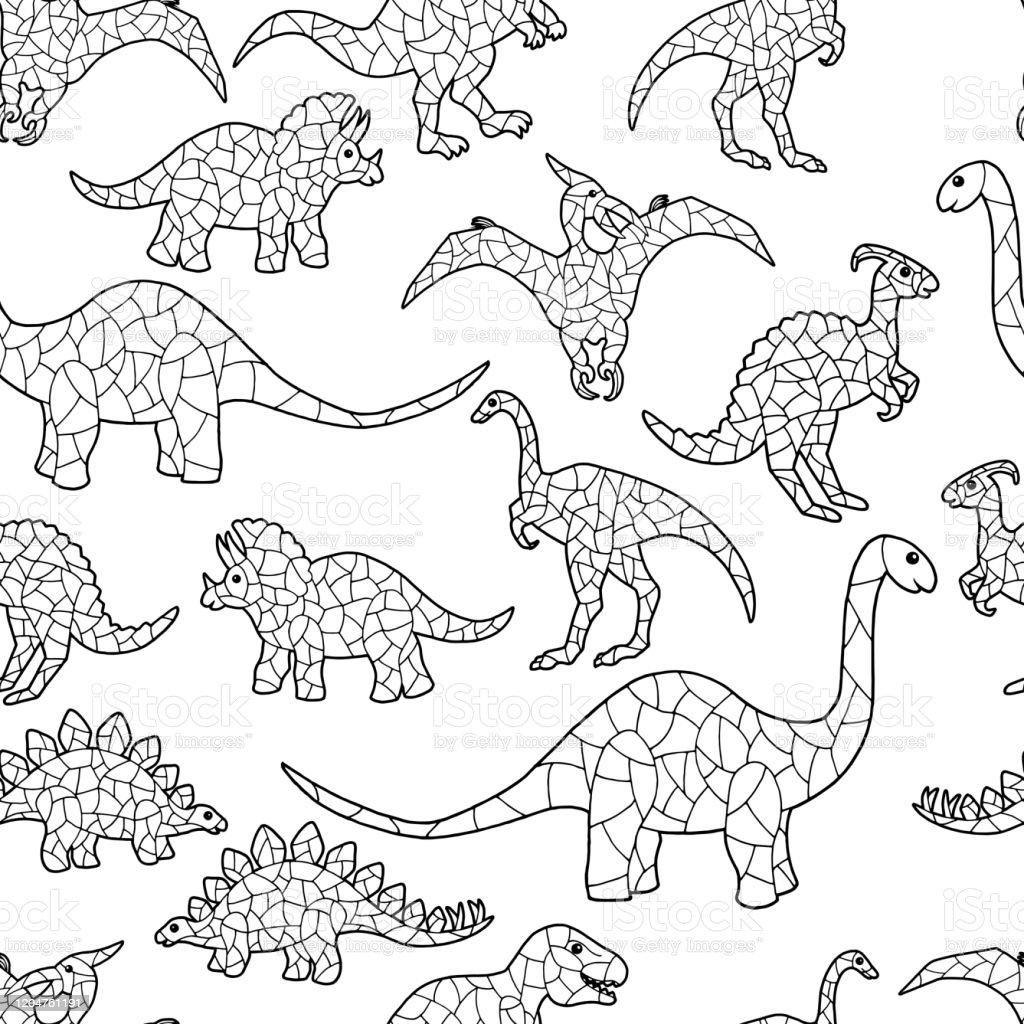 Soyut Dinozorlar Ile Kesintisiz Arka Plan Boyama Sayfasi Stok