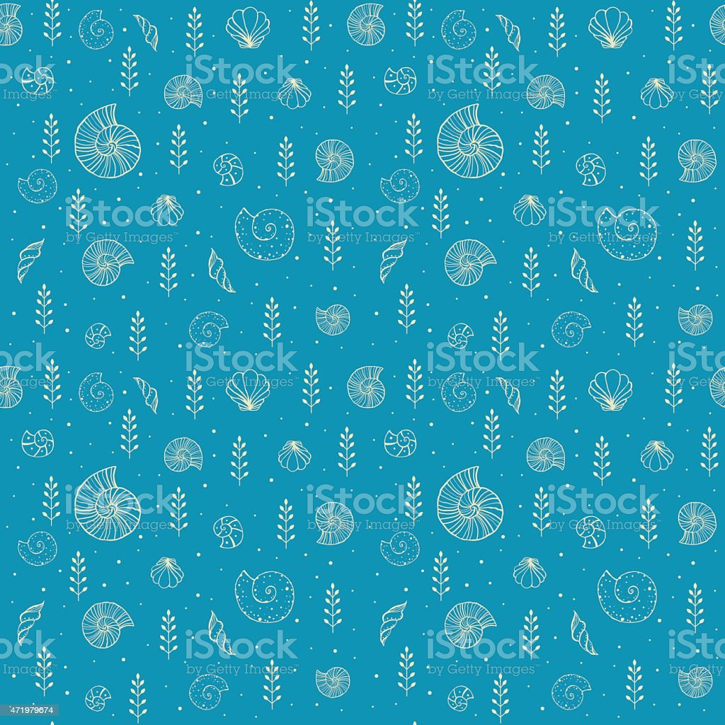 Seamless background with ammonites and sea shells in sketch style vector art illustration