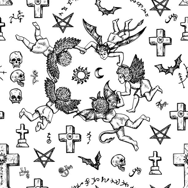 Seamless background with angels, demons and crosses vector art illustration