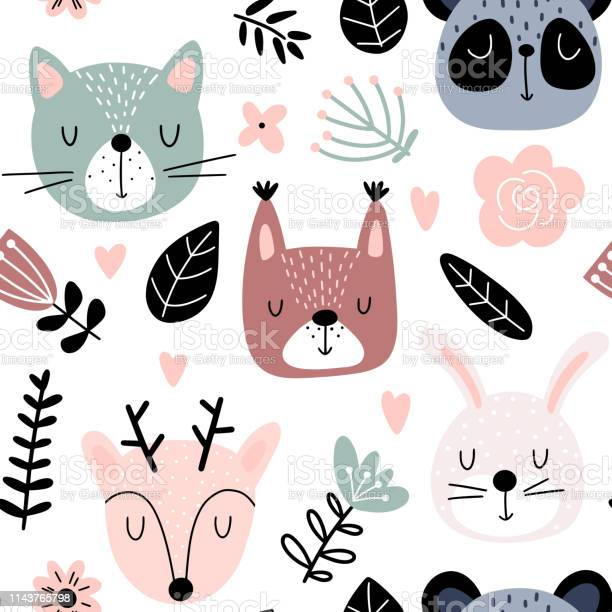 Seamless background with animals and flowers vector id1143765798?b=1&k=6&m=1143765798&s=612x612&h=plgf3wnv00aqhuzg6kwprz3cohls5qje lybrwmez8e=