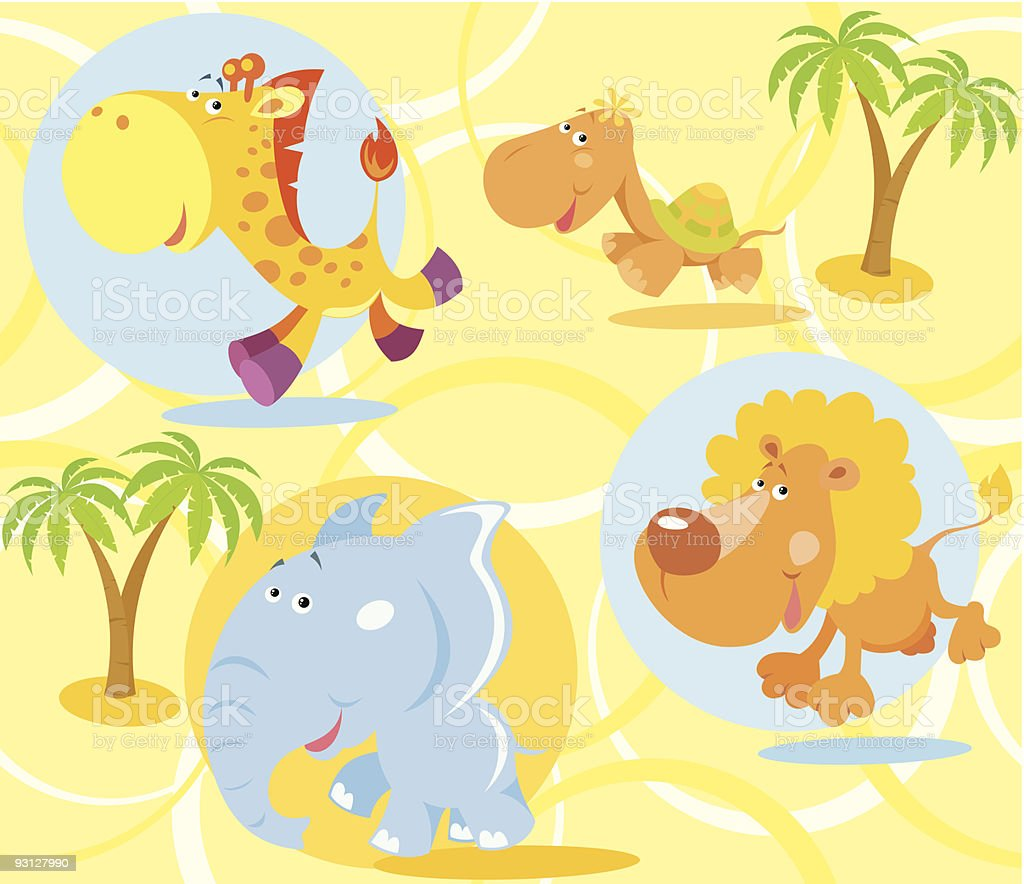 Seamless background with animals royalty-free stock vector art