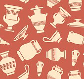 Seamless background with antique vases and amphoras