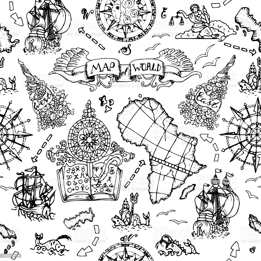 Seamless background with atlas map details, ships and nautical symbols vector art illustration