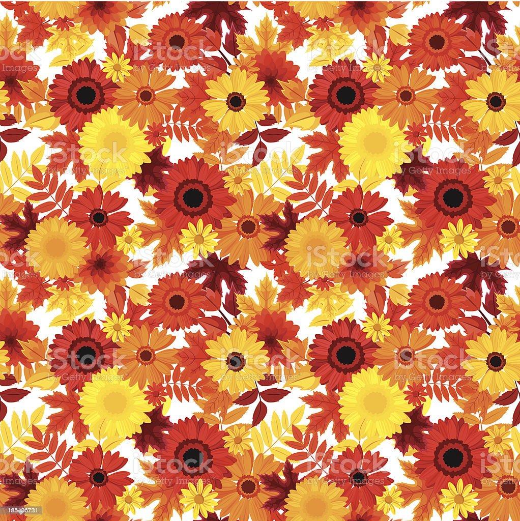シームレスな背景に秋の花と葉ます ベクトルイラスト