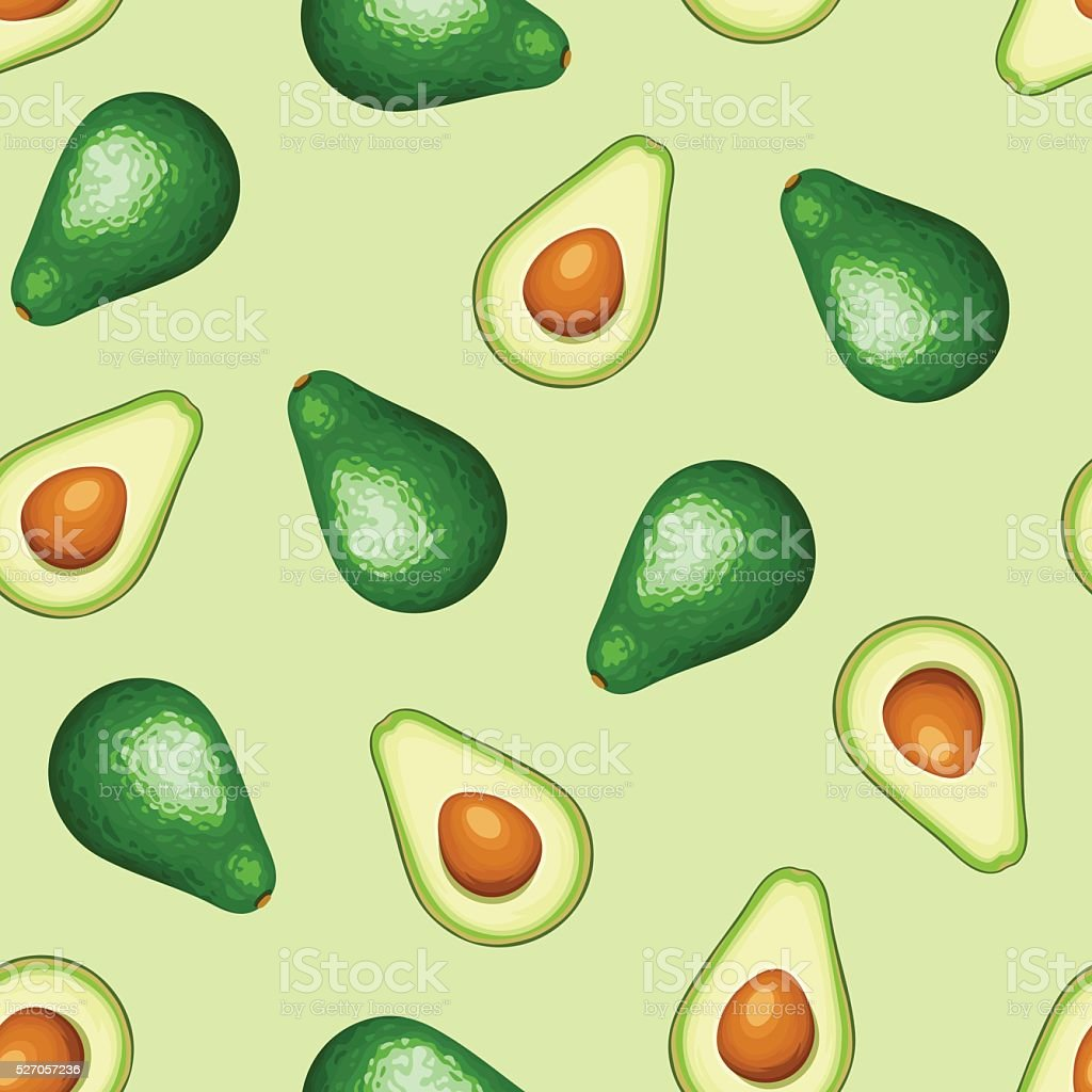 Seamless background with avocado fruit. Vector illustration. vector art illustration