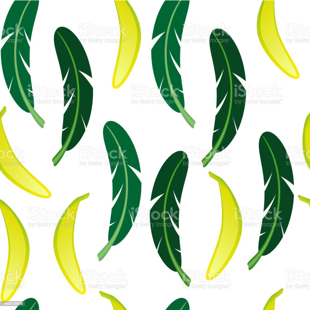 Seamless background with banana and banana palm leaves on white background. - Grafika wektorowa royalty-free (Banan)