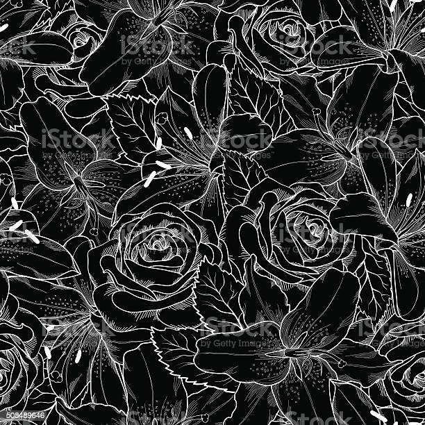 Seamless background with black and white lily and roses vector id508489646?b=1&k=6&m=508489646&s=612x612&h=pmvrd42g3n45fuwfhsz7e6yvt8hkwhrx7o7suk0dwcm=