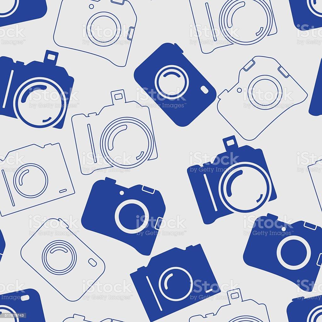 シームレスな背景に青いカメラ のイラスト素材 517619743 | istock