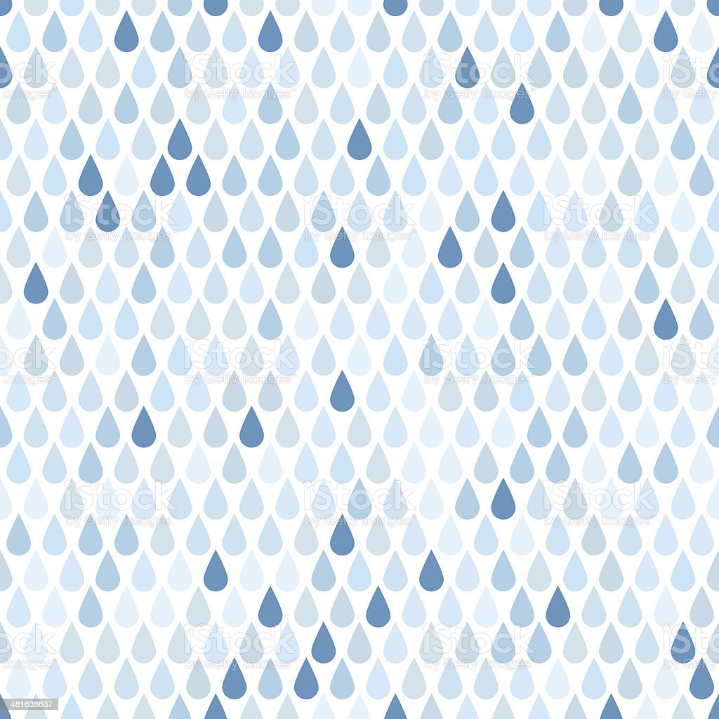 Seamless background with blue rain drops vector art illustration