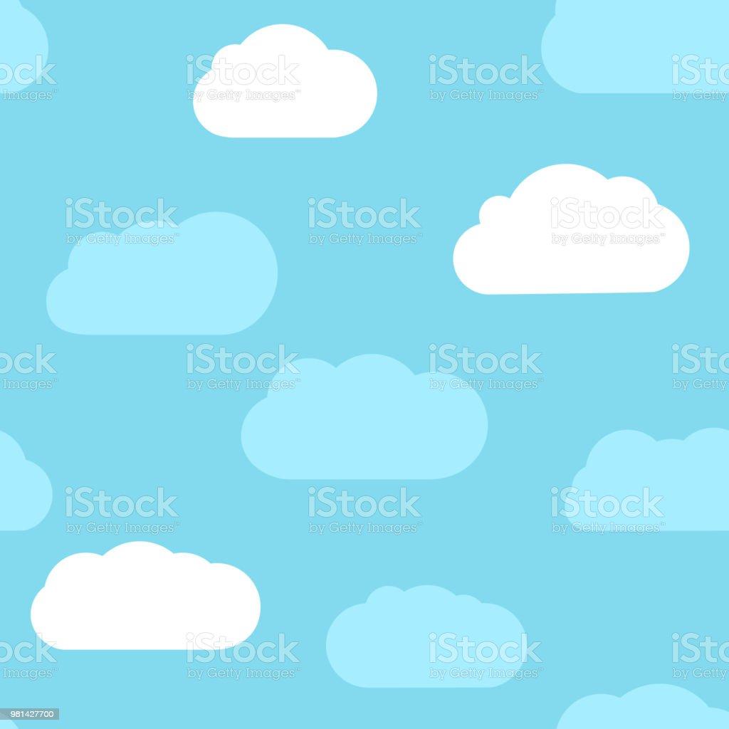 Vetores De Plano De Fundo Sem Emenda Com Ceu Azul E Nuvens Brancas