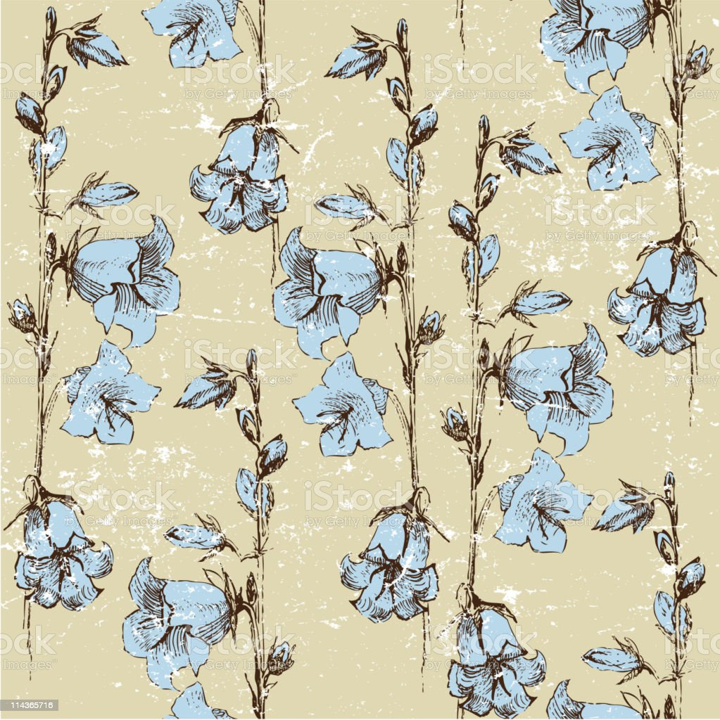 seamless background with bluebells vector art illustration