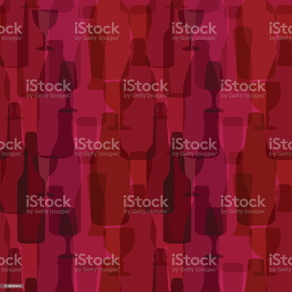 Seamless background with bottles and glasses vector art illustration