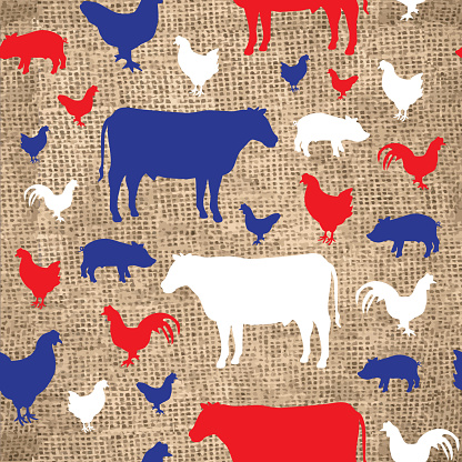 Seamless background with burlap and farm animal silhouettes