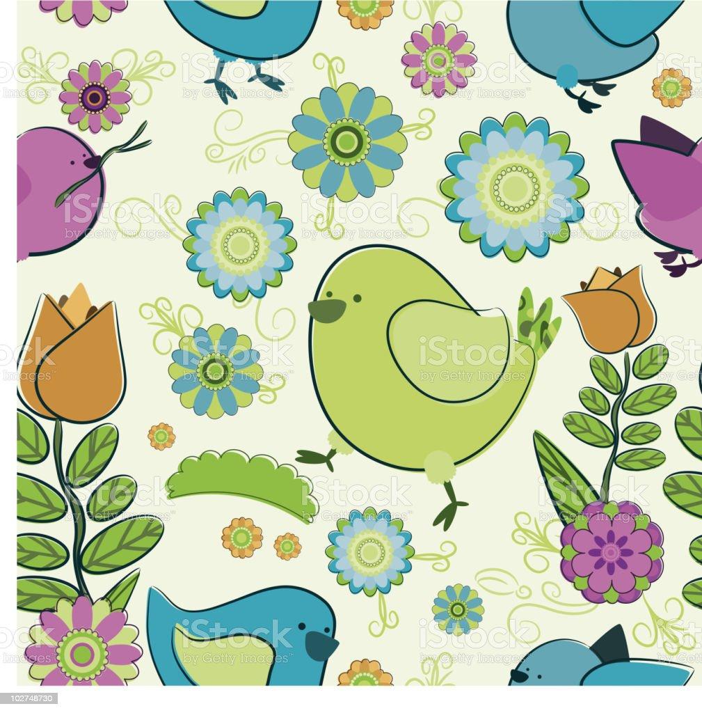 Seamless background with cartoon birds. royalty-free stock vector art