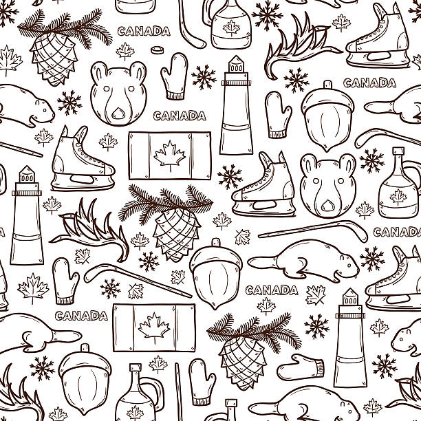 Seamless background with cartoon hand drawn objects on Canada theme Seamless background with cartoon hand drawn objects on Canada theme: maple syrup, hockey stick, puck, bear, horn, flat. Travel north america concept for your design maple syrup stock illustrations