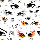 seamless background with catching eyes, endless hypnotic eye pattern