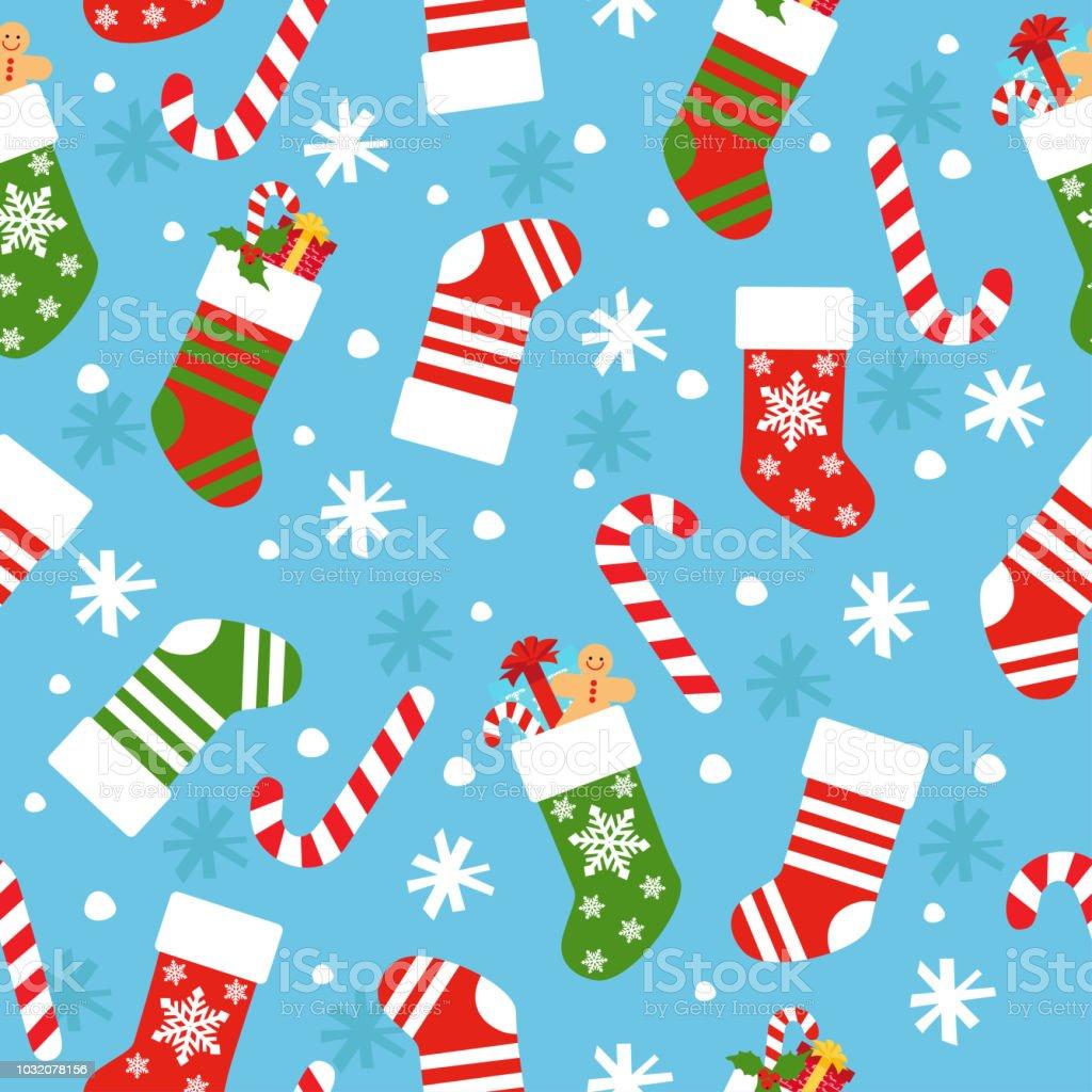 Nahtlose Hintergrund Mit Weihnachten Socken Süßigkeiten Geschenke ...
