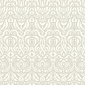 Floral ornament, vertical lines, abstract flowers and leaves. Soft light gray-beige colors. Endlessly repeating texture for fabrics, textiles, wallpaper.