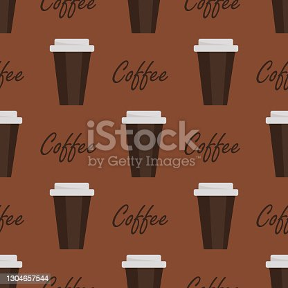 istock Seamless background with coffee beans and cups. 1304657544