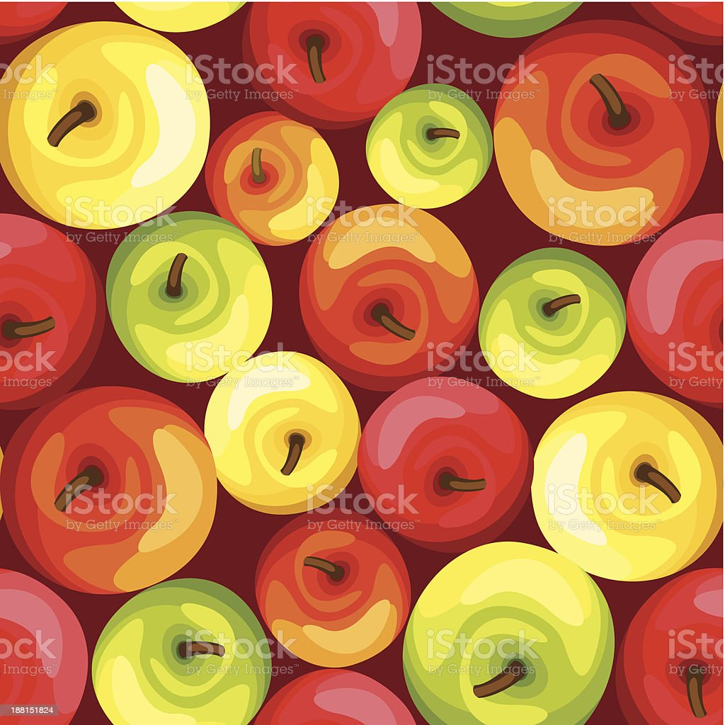 Seamless background with colorful apples. Vector illustration. royalty-free stock vector art
