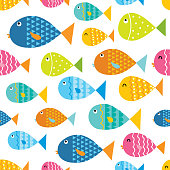 seamless background with colorful cute fish pattern
