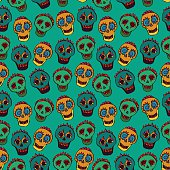 Seamless background with colorful skulls