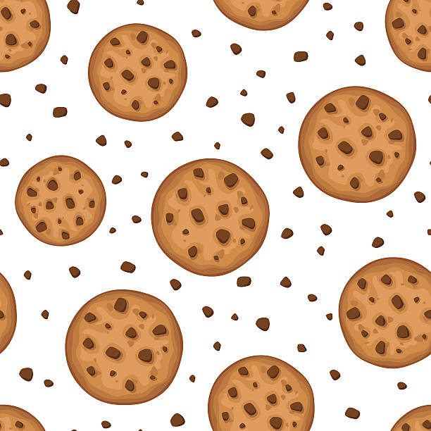 Seamless background with cookies. Vector illustration. Vector seamless background with round cookies on a white background. cookie stock illustrations