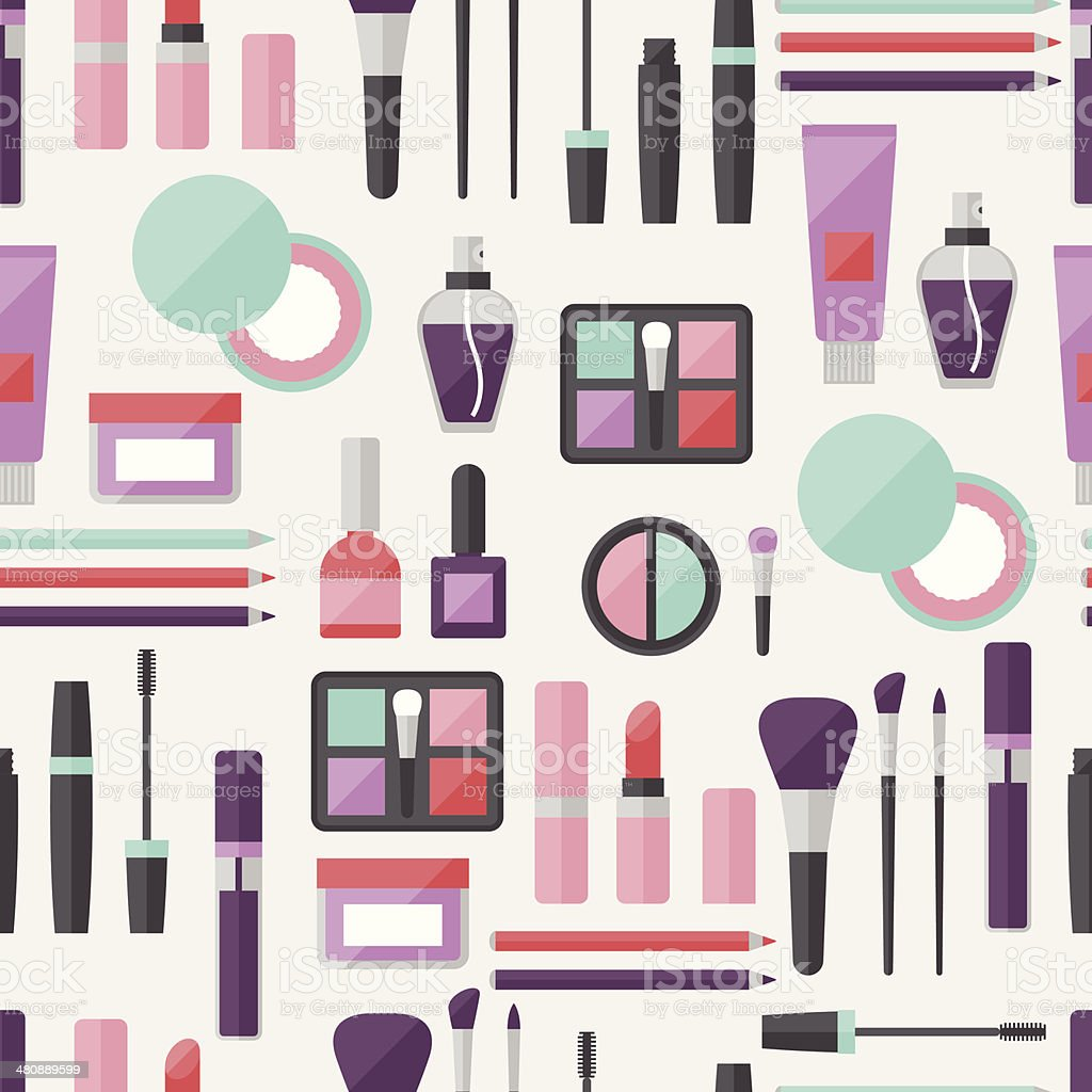 Seamless background with cosmetics icons. vector art illustration