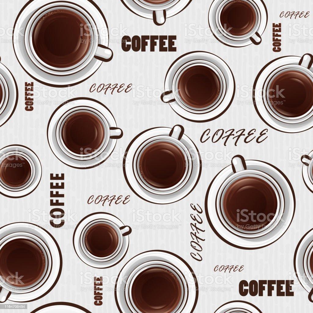 コーヒーとテキストのカップとシームレスな背景コーヒーのテーマの