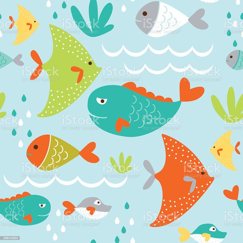 シームレスなの背景かわいい漫画の魚デザイン のイラスト素材
