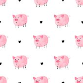 Seamless pattern with funny pigs on a white background. Vector illustration.