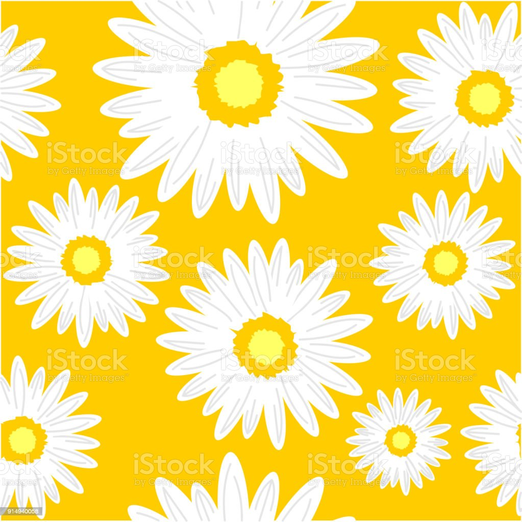Seamless Background With Daisy Flowers Stock Vector Art More