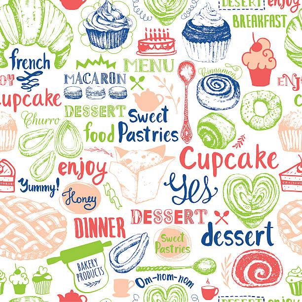 seamless background with dessert vector sweets symbols. - churro stock-grafiken, -clipart, -cartoons und -symbole