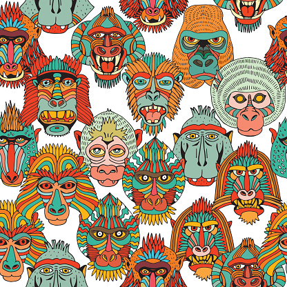 Seamless Background With Different Monkey Faces. Doodle Set of Cartoon Primate Face. Hand Drawn illustration.