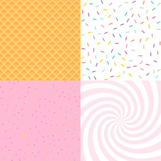 bezszwowe tło z pączkiem i lodami glazury, konfetti, wafelka. dekoracyjny jasny posypuje wzór tekstury zestaw wzorów - ciasto stock illustrations