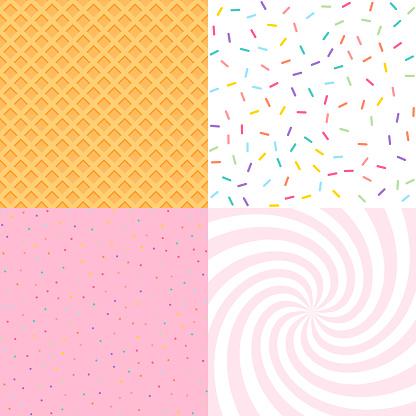 Nahtloser Hintergrund Mit Donut Und Eisglasur Konfetti Waffeln Dekoratives Helles Sprinklermuster Stock Vektor Art und mehr Bilder von Abstrakt