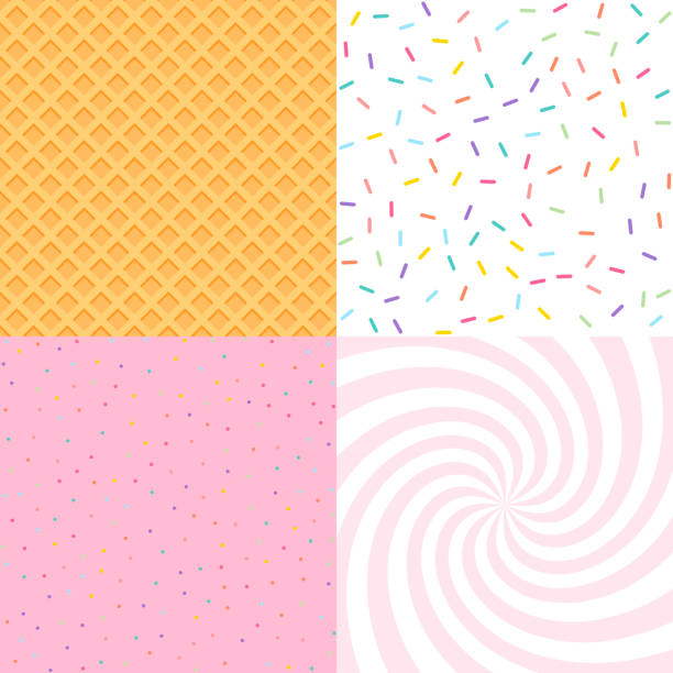 Seamless background with donut and ice cream glaze, confetti, waffle. Decorative bright sprinkles texture pattern design set Seamless background with donut and ice cream glaze, confetti, waffle. Decorative bright sprinkles texture pattern design set candy patterns stock illustrations