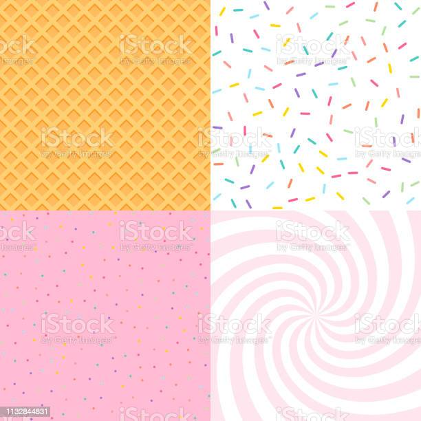 Seamless Background With Donut And Ice Cream Glaze Confetti Waffle Decorative Bright Sprinkles Texture Pattern Design Set - Arte vetorial de stock e mais imagens de Abstrato