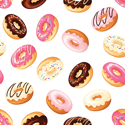 Seamless background with donuts. Vector illustration.