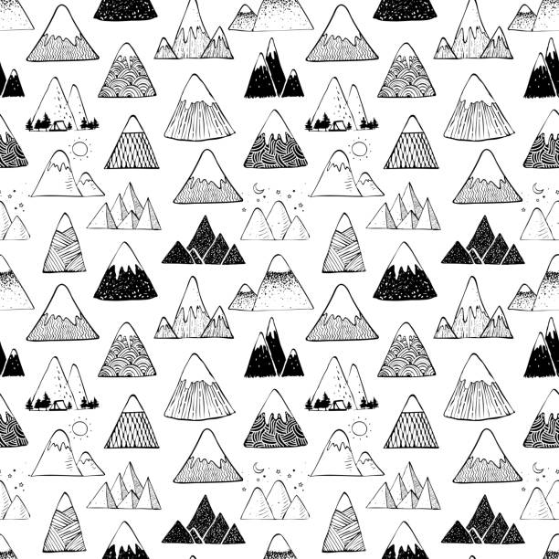 Seamless background with doodle sketch mountains on white background. Can be used for wallpaper, pattern fills, textile, web page background, surface textures. Seamless background with doodle sketch mountains on white background. Can be used for wallpaper, pattern fills, textile, web page background, surface textures black white snow scene silhouette stock illustrations