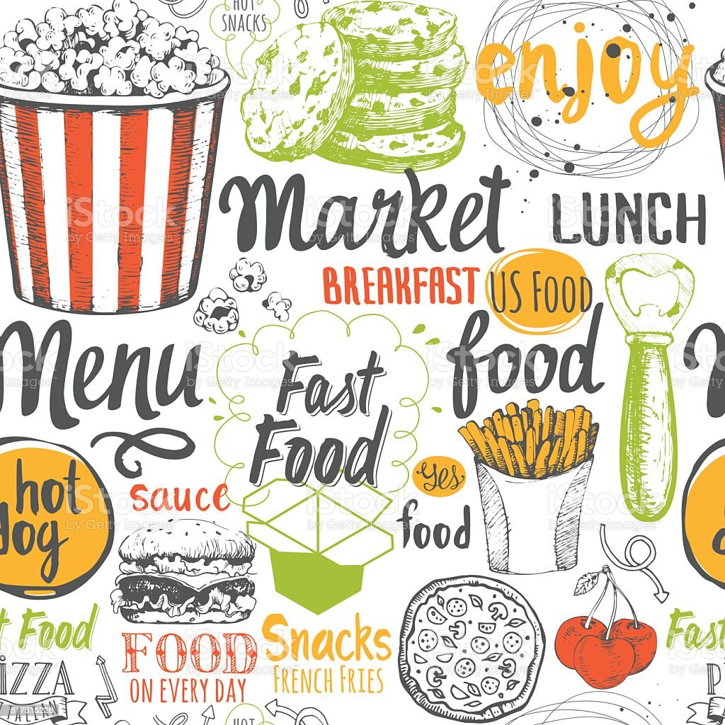 Seamless Background With Fast Food Symbols Menu Pattern Stock Vector