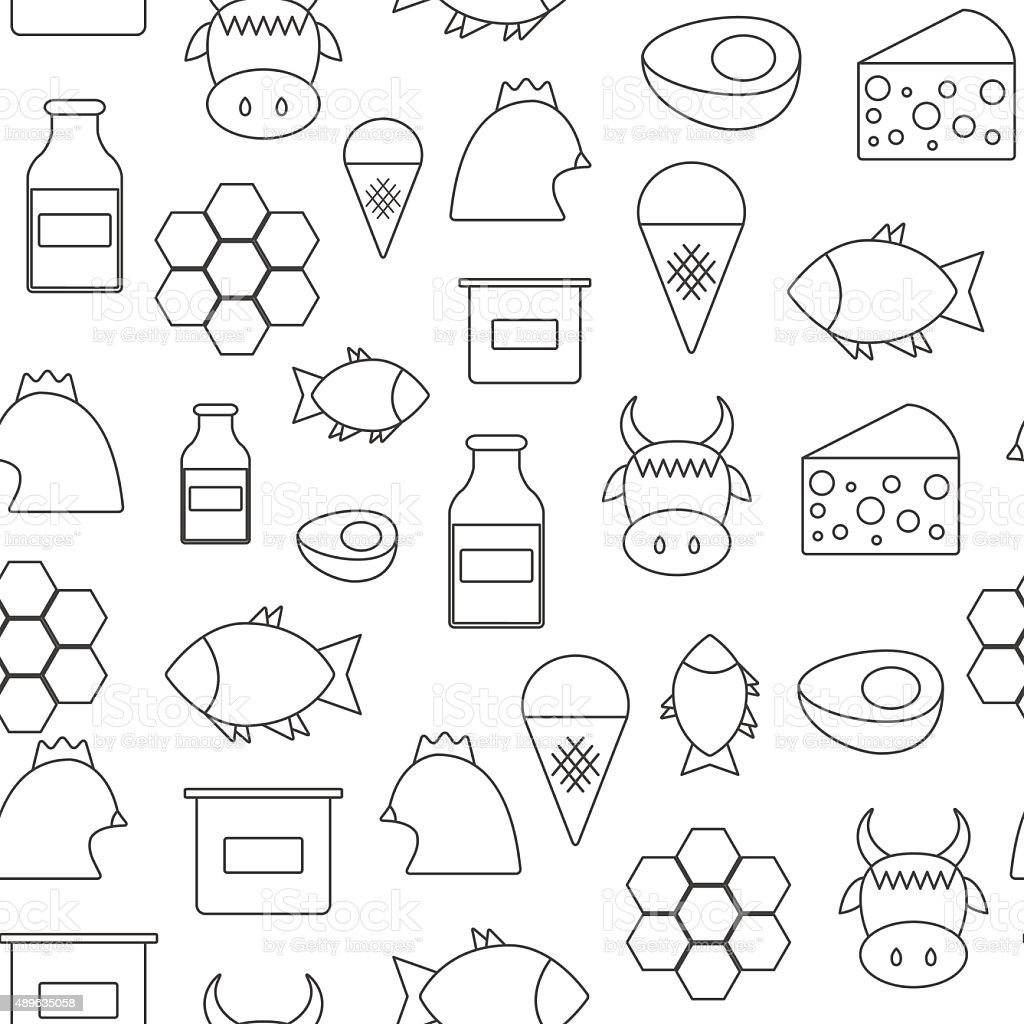 Seamless background with flat objects of products containing animal protein vector art illustration