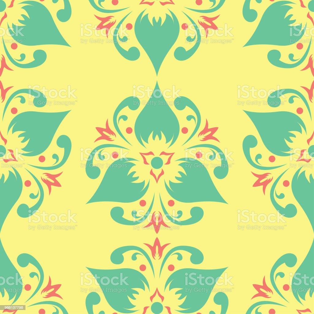 Sömlös bakgrund med blommönster. Ljus gul, rosa och blå bakgrund - Royaltyfri Abstrakt vektorgrafik