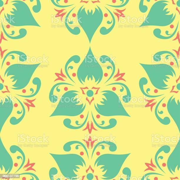 Sömlös Bakgrund Med Blommönster Ljus Gul Rosa Och Blå Bakgrund-vektorgrafik och fler bilder på Abstrakt