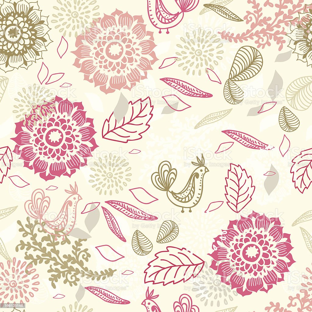 Seamless background with flower and bird royalty-free stock vector art
