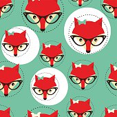 Seamless background with foxes faces in glasses.