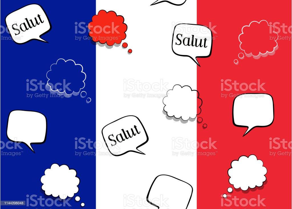 Naadloze Achtergrond Met Franse Vlag En Spraak Bubbels Met Groet