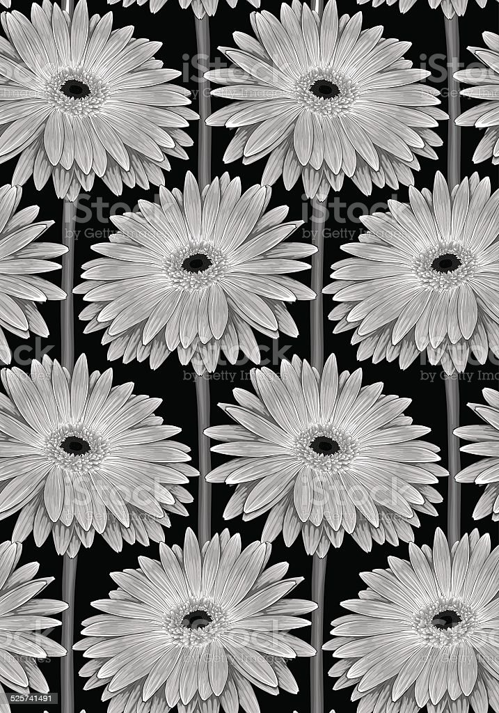 seamless background with gerbera flower with stem.