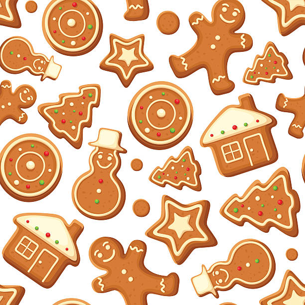 stockillustraties, clipart, cartoons en iconen met seamless background with gingerbread cookies. vector illustration. - speculaas
