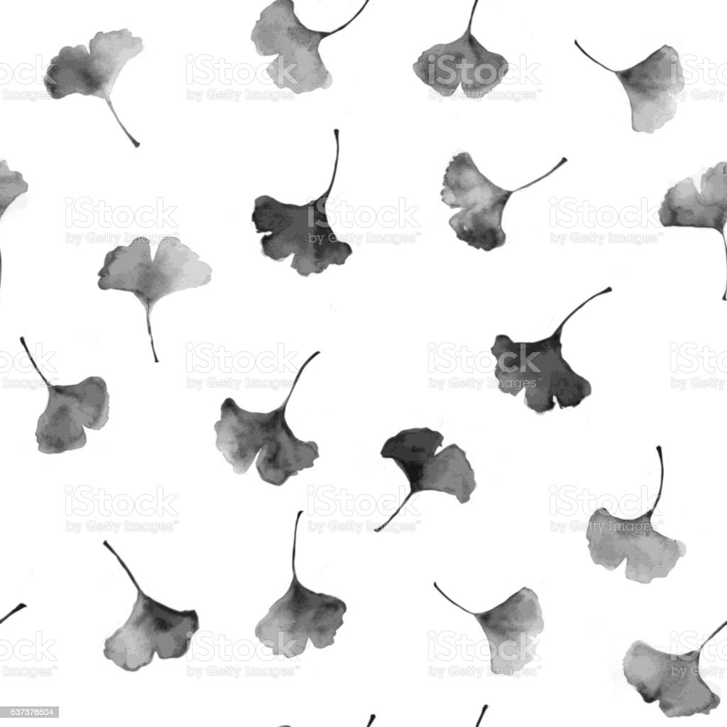 Seamless background with ginkgo leaves vector art illustration